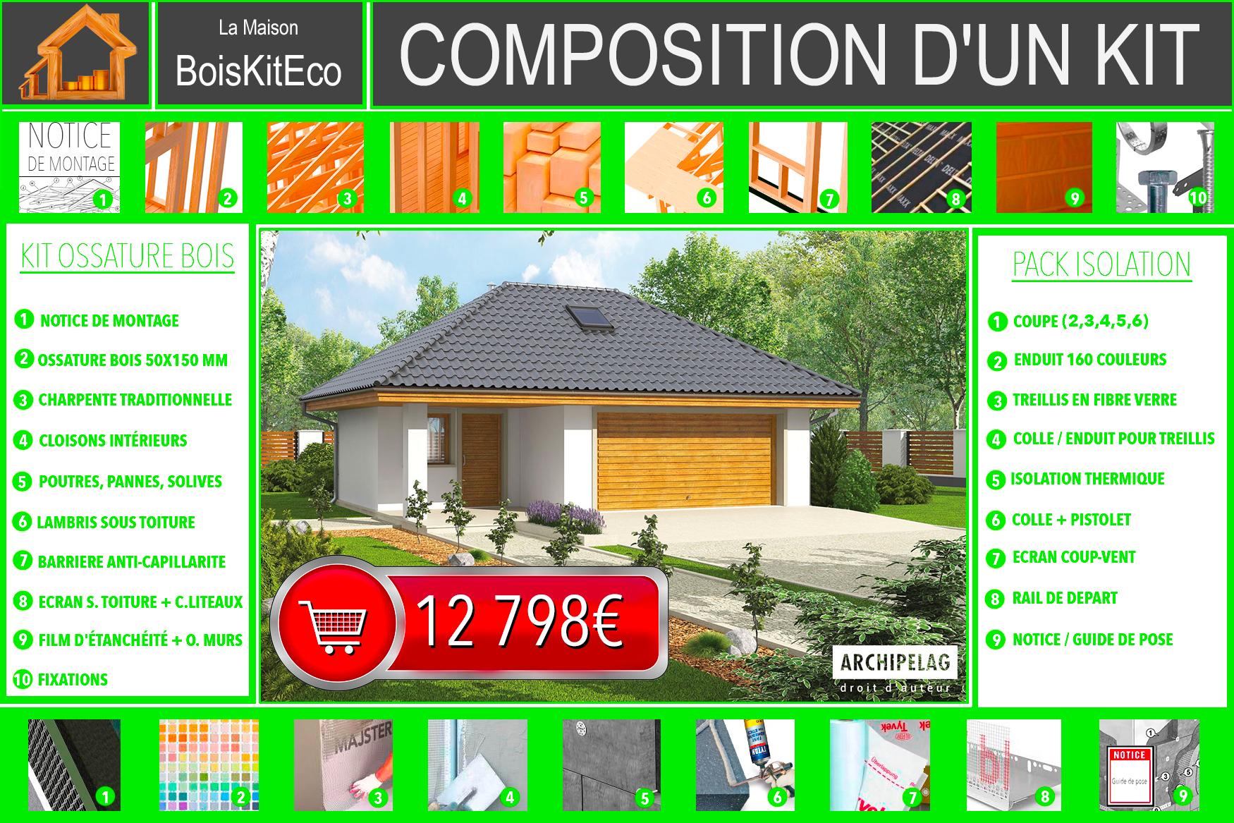 garage en bois plan plain pied 47 m avec un atelier. Black Bedroom Furniture Sets. Home Design Ideas