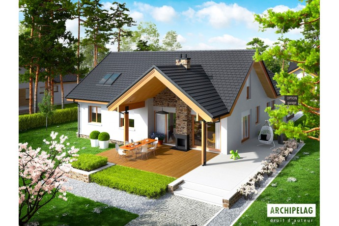 """Permis de construire / Maison en bois, kit ossature bois / plan de maison """"SIMON"""" 130 m² RT 2012 + Combles 50 m²"""