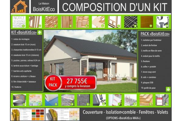 """Maison en bois, kit ossature bois / plan """"ARMANDO II G1..."""