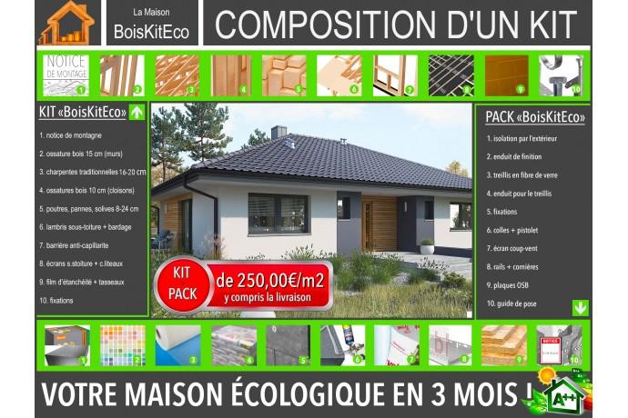 """Maison en bois, kit ossature bois C24 / plan de maison """"MINI 4"""" 118 m² 3CH / KIT Isolation par l'extérieur"""