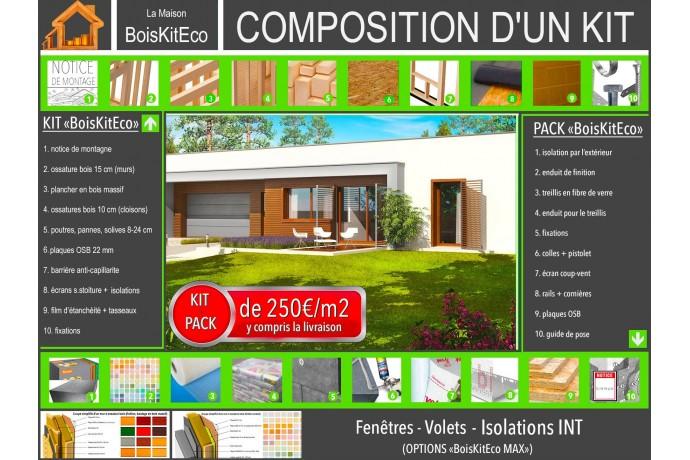 """Maison en bois, kit ossature bois """"EX8 SOSF W.C"""" 137 m² + garage 38 m²"""