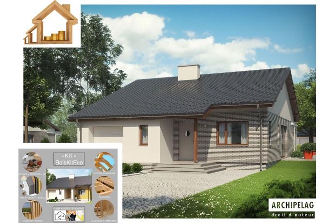"""Maison en bois, kit ossature bois / plan """"ARMANDO II G1 ENERGO"""" 111 m² / Auto-construction"""
