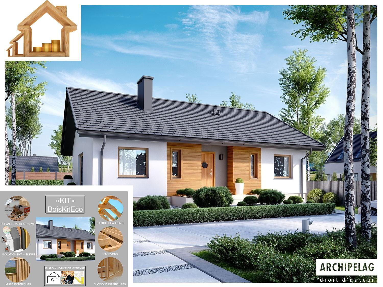 Le Plan De Maison Type : La Maison écologique à Ossature Bois Type  Plain Pied 3 Chambres