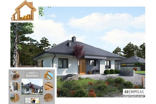 """Maison en bois, kit à ossature bois """"MINI 1G1"""" 90 m² 3..."""