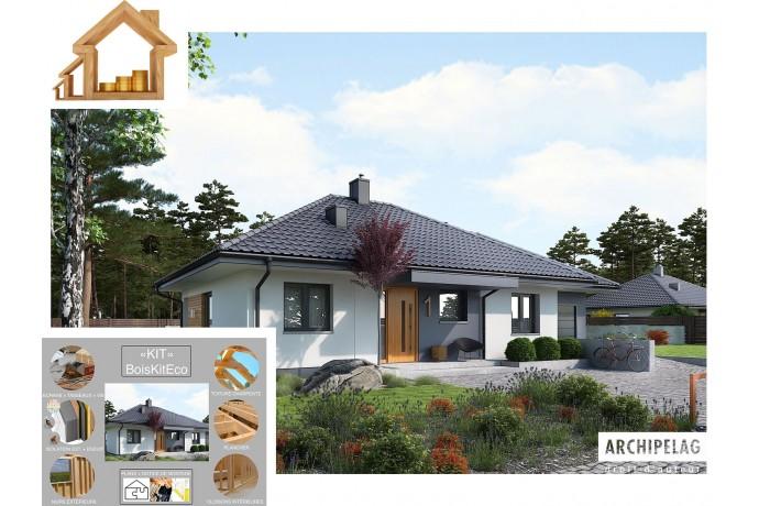 """Maison en bois, kit à ossature bois """"MINI 1G1"""" 90 m² 3 chambres + 21m² garage / RT 2020 / Autoconstruction"""