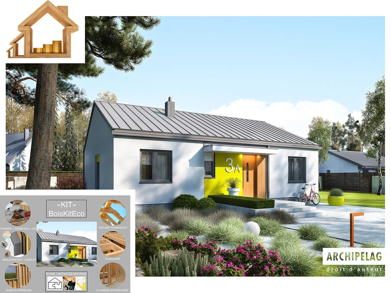 Maison ossature bois plan de maison moderne mini 3 plus 3 chambres kit auto construction - Prix maison moderne ...