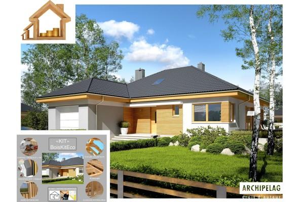 Maison en bois / Kit à ossature bois + Isolations Ext. /...