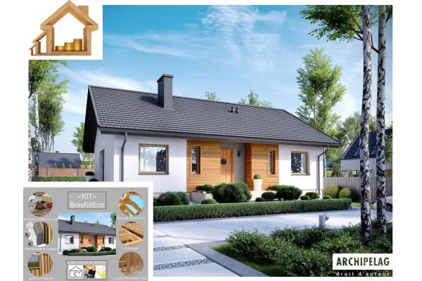 """Maison ossature bois kit """"KORNEL V """" 100 m² 3 chambres..."""