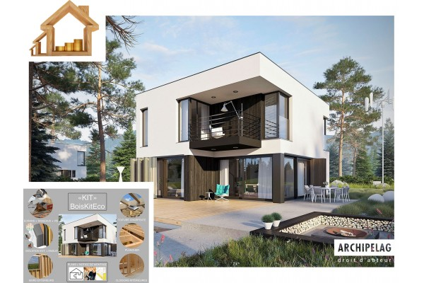Maison ossature bois kit EX 2 PASSIVE RT 2020, kit...