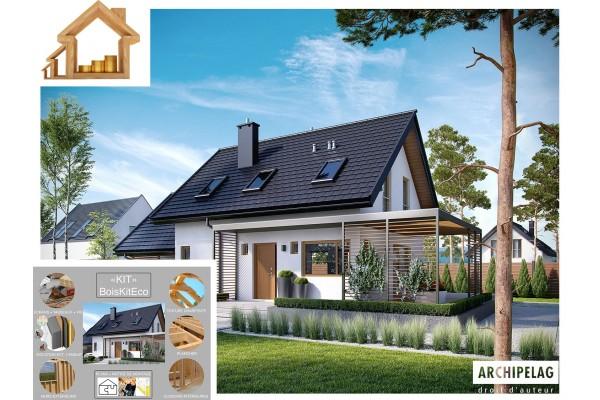 Maison ossature bois kit LEA II AW 4 chambres, plan de...