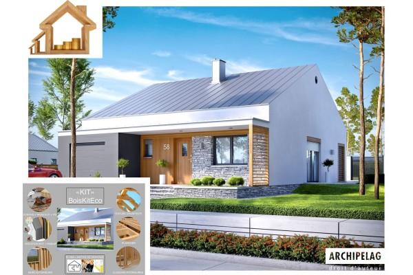 Maison ossature bois / plan de maison contemporaine KIT...