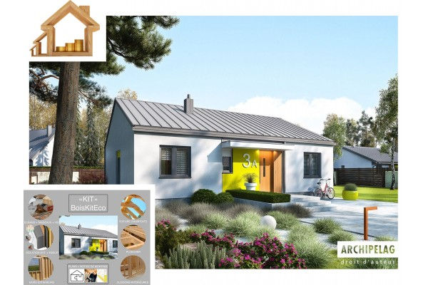 """Maison ossature bois / Plan de maison moderne KIT """"MINI 3..."""