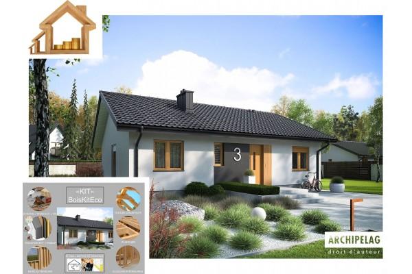 """Maison ossature bois, préfabriquée en kit """"MINI 3"""" /..."""