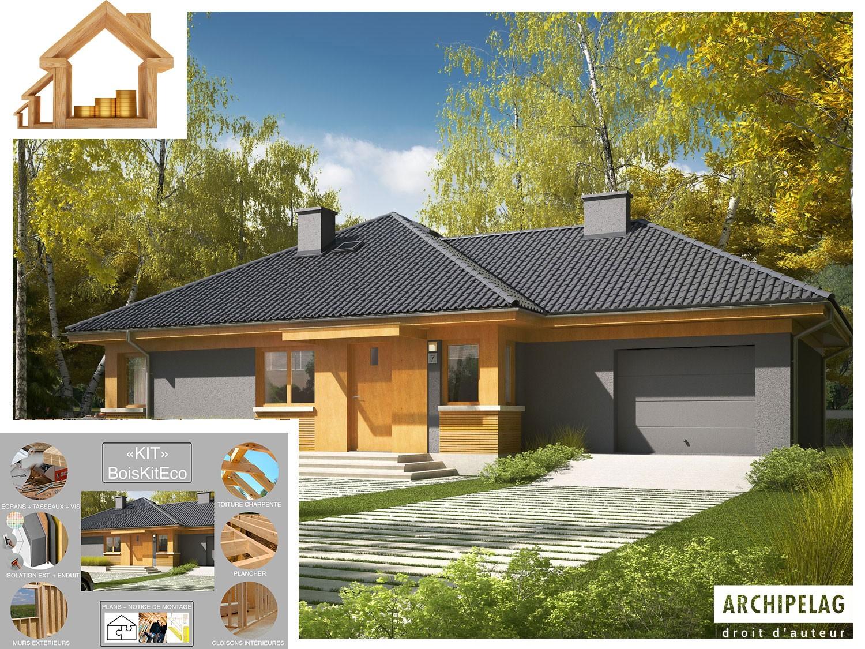 """Maison en bois, kit à ossature bois / plan de maison """"ANABELA G8"""