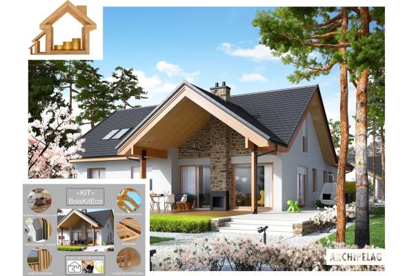 Maison en bois, type chalet, kit à ossature bois / plan...