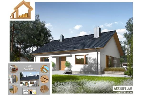 "Maison ossature bois kit / plan ""SWEN II"" 102 m²..."