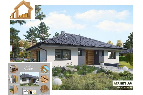 """Maison ossature bois kit C24 / plan de maison """"MINI 4""""..."""