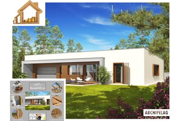 """Maison ossature bois kit """"EX8 SOSF W.C"""" 132 m² + garage..."""