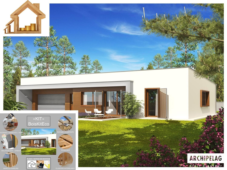 Maison Ossature Bois Kit Ex8 Sosf W C 132 M Garage 28 M Plain Pied Toit Plat