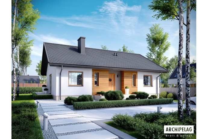 """DOSSIER Permis de construire RT 2012 / Maison en bois, kit à ossature bois / plan """"KORNEL V ENERGO"""" 100 m² / 3 chambres"""