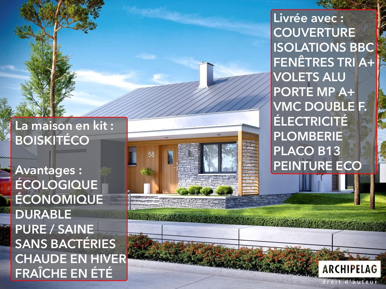 Maison ossature bois / plan de maison contemporaine KIT ...