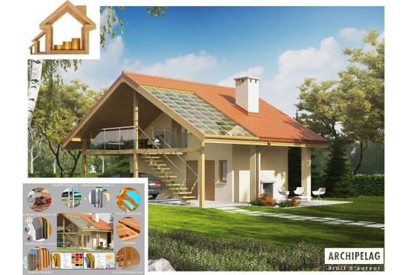 "Garage ossature bois kit, garage avec studio / plan ""G35""..."
