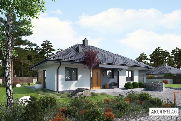 Permis de construire RT 2012 (option) la maison en bois, préfabriqué en kit / plan MINI 1G1, 3 chambres + garage