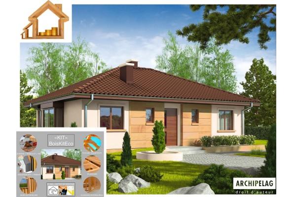"Maison ossature bois kit ""MARGO Mocca"" 88 m² 3 chambres /..."
