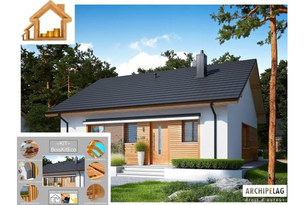 "Maison ossature bois kit / plan ""Elmo ECO"" 84,71 m²..."