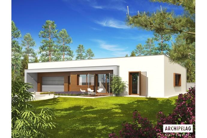 """DOSSIER Permis de construire RT 2012/ Maison en bois, kit ossature bois / plan de maison """"EX8 G2 SOFT WC"""" 150 m²"""