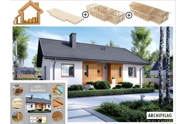 """Maison kit ossature bois, plancher """"KORNEL V """" 100 m² 3..."""
