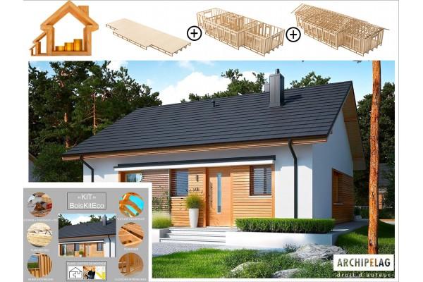 Maison ossature bois kit autoconstruction, plancher bois...