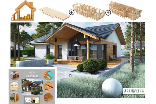 Maison en bois kit à ossature bois, plancher bois, plan...