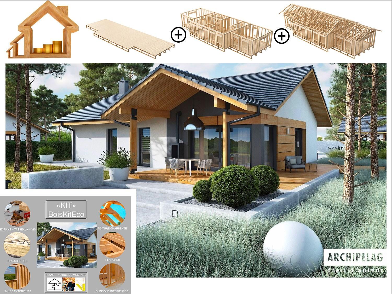 Plan De Maison Moderne maison en bois kit à ossature bois, plancher bois, plan de maison moderne  mini 4w ii 130 m² 3/4 chambres