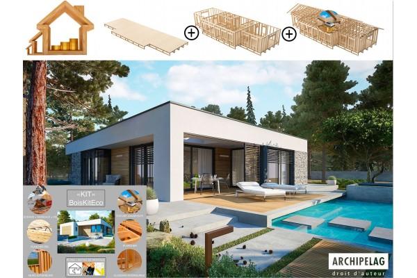 Maison ossature bois kit auto-construction, plancher bois...