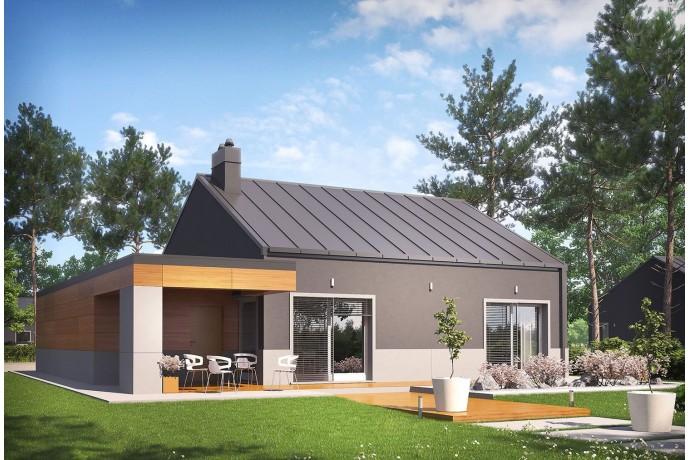 """Maison en bois / Kit à ossature bois / Isolations RT2020 Enduit + Bradage / Plan de maison """"EDWIN II G1"""" 2/3 chambres + garage"""