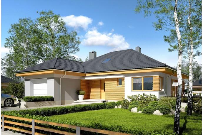 """Maison en ossature bois en kit / Plan de maison en L """"ASTRID II G1 142 M2"""" 2-4 Chambres + garage"""