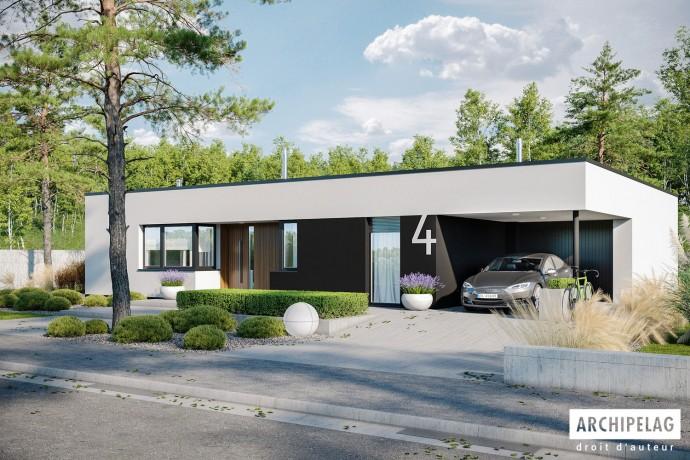 """Maison ossature bois kit """"MINI 4 MODERN"""" 125 m² + garage + auvent / Plain-pied, toit plat / Auto-construction"""