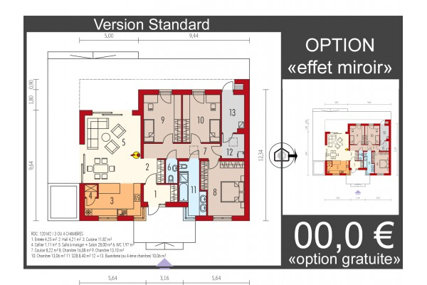 Maison en bois kit l 39 ossature bois mini 4 modern energo - Plan maison plain pied 1 chambre ...