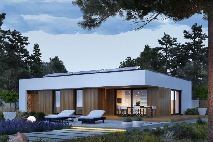 """Maison en bois kit l'ossature bois """"MINI 4 MODERN ENERGO"""" 120 m² Plain-pied, toit plat / Auto-construction"""