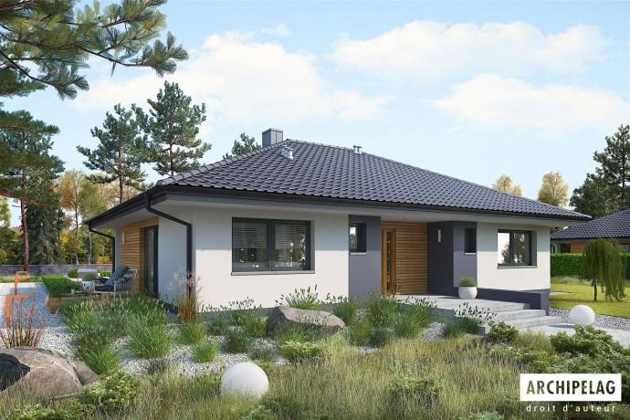 """Permis de construire RT 2012 / Maison en bois kit ossature bois / plan """"MINI 4"""" 118 m²"""