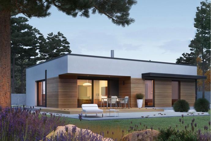 """Maison en bois kit en ossature bois """"MINI 1 MODERN SG"""" 100 m² 3 chambres, plain-pied, toit plat / Auto-construction"""