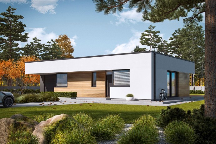 """Maison en bois kit en ossature bois """"MINI 1 G1 MODERN"""" 95-121 m² 3-5 chambres, plain-pied, toit plat / Auto-construction"""