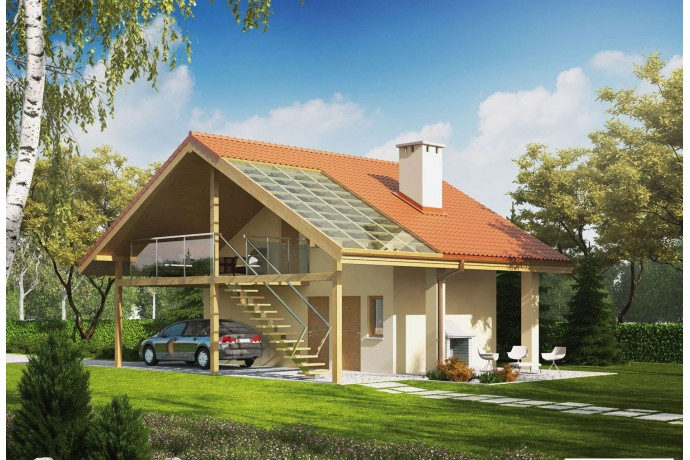 "Garage ossature bois kit, garage avec studio, bureau, plan ""G35"" 46,35 m² + mezzanine"