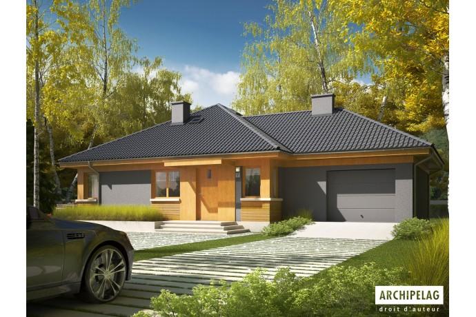 """Permis de construire RT 2012 / Maison en bois, kit ossature bois / plan """"ANABELA G1"""" 97 m² 3ch"""