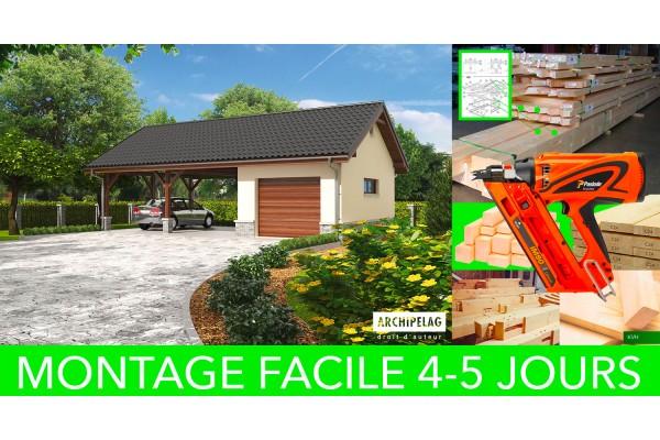 permis de construire gratuite pour garage avec carport en bois kit ossature bois. Black Bedroom Furniture Sets. Home Design Ideas