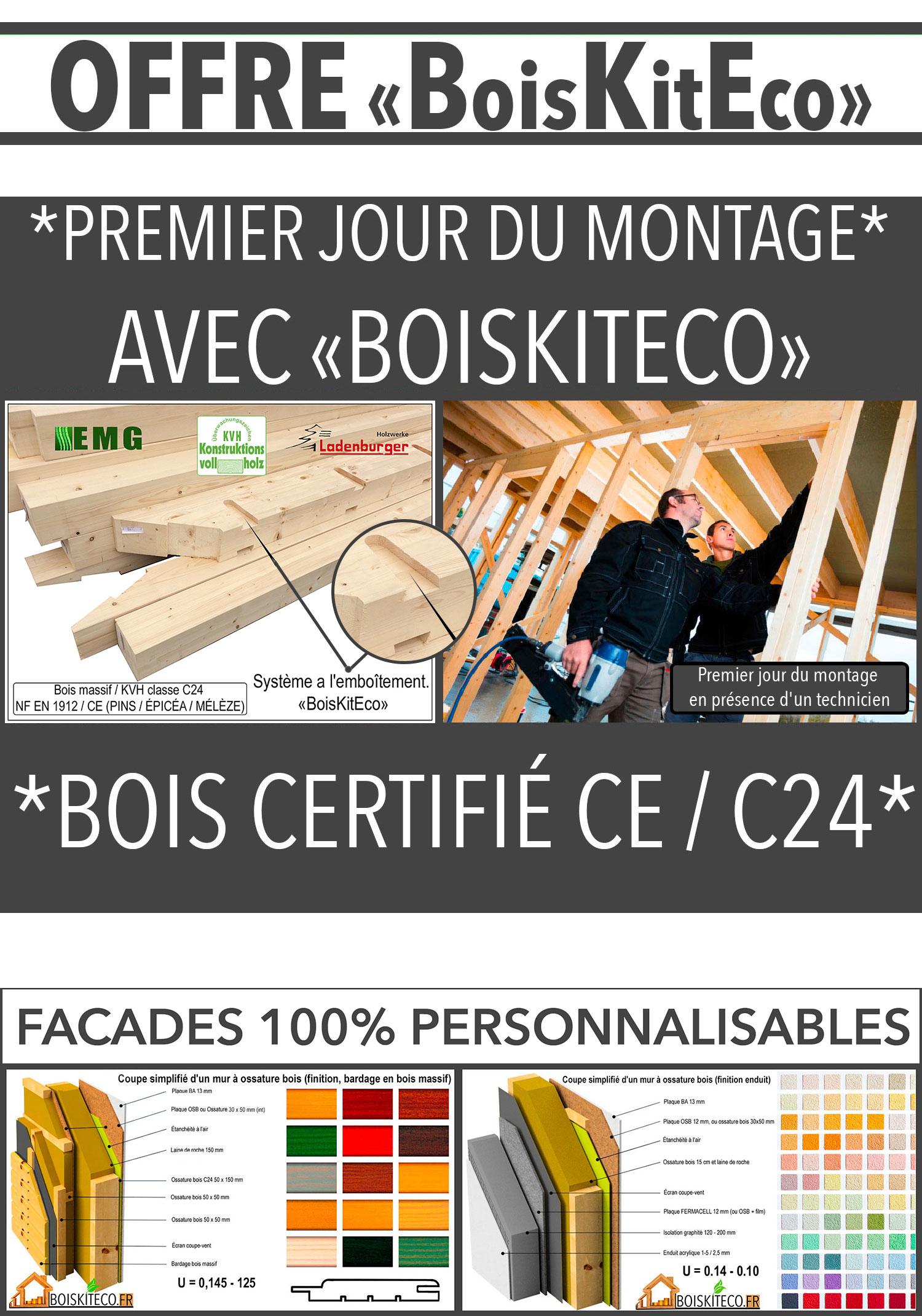 maison ossature bois kit avec enduit ou bardage bois
