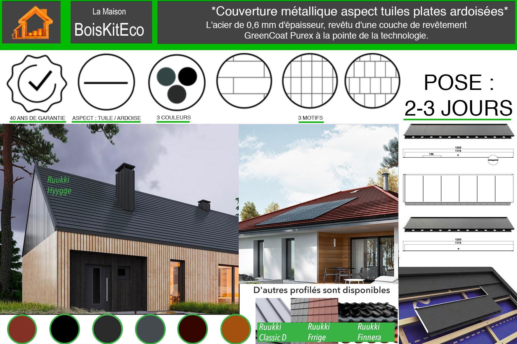 toiture métallique maison bois moderne boiskiteco