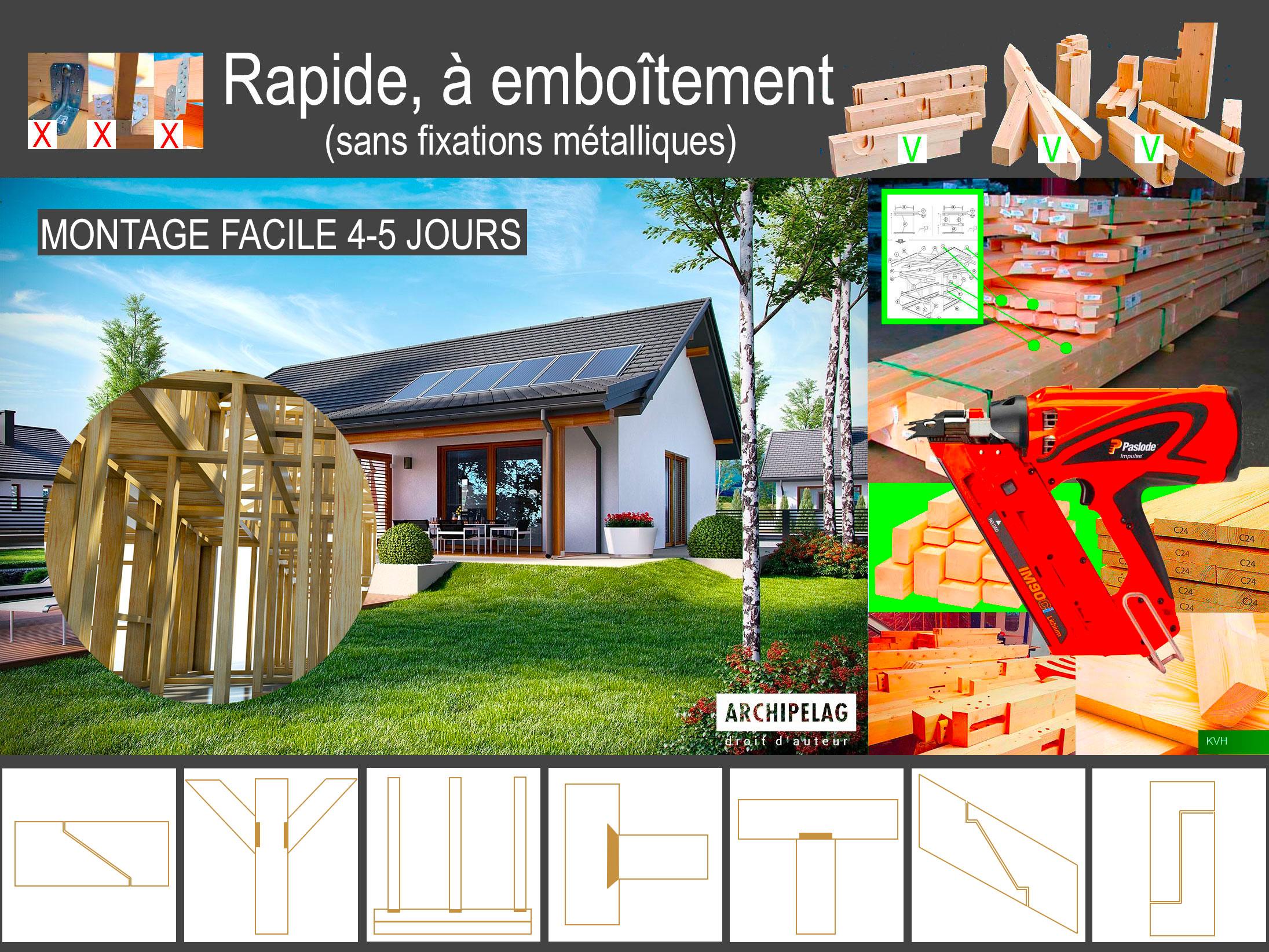 système a emboitement construction ossature bois BoisKitEco