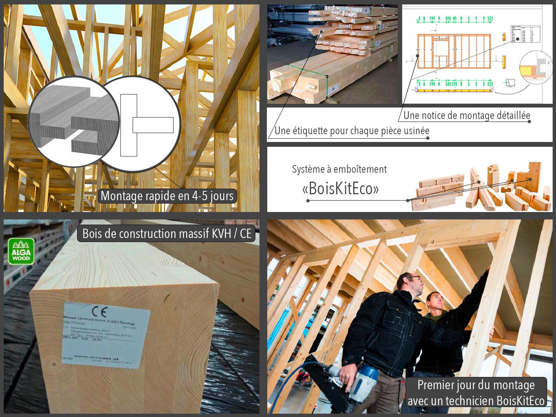 construire maison ossature bois avec le kit BoisKitEco bois massif KVH